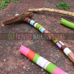 DIY Painted Walking Sticks - so fun and a great way to keep the kids busy during the day!