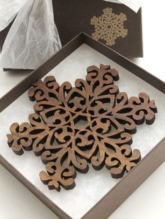 Black Walnut Filigree Style Wood Snowflake by TimberGreenWoods, $14.95. Just simply beautiful!!!!