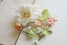 Rustic Bridal Hair Flower Ivory Lime Green Pink by BelleBlooms