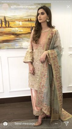 Velvet embroidered suit, kamdaani, block print dupatta Suffuse by sana yasir Simple Pakistani Dresses, Pakistani Dress Design, Indian Dresses, Indian Outfits, Pakistani Party Wear, Pakistani Wedding Outfits, Pakistani Couture, Indian Party Wear, Pakistan Fashion