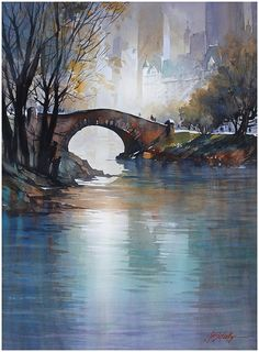 The Gapstow Bridge - NYC by Thomas W. Schaller Watercolor ~ 30 inches x 22 inches