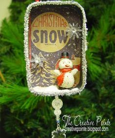 mini-shadow boxes as Christmas ornaments