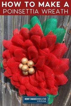 Ready to start decorating for Christmas? This is a simple and easy tutorial on how to make a poinsettia wreath using an easy-to- use flower board. #howtomakewreaths #flowerboard #wreathtutorial #christmaswreath #poinsettiawreath #poinsettia