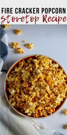 Chili Powder and Cumin bring a blast of flavor to this Southwestern spicy flavored popcorn recipe. Firecracker Corn is an easy and healthy snack recipe. This is a great seasoning recipe for popcorn. Plus a step by step how to cook popcorn on the stovetop. Spicy Popcorn, Popcorn Stovetop, Flavored Popcorn, Popcorn Recipes, Finger Food Appetizers, Finger Foods, Appetizer Recipes, Snack Recipes, Dinner Recipes