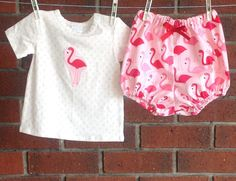 BABY OUTFIT FLAMINGO , pink baby girl outfit,   6 12 months pink flamingo diaper cover and tshirt, clothes for baby girls by TwoBlackRabbits on Etsy https://www.etsy.com/listing/225372649/baby-outfit-flamingo-pink-baby-girl