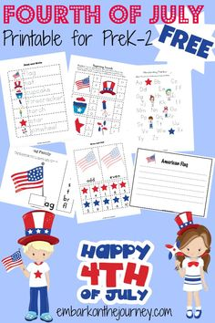 Celebrate the 4th of July with these fun printables for PreK - Grade 2! | embarkonthejourney.com