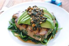 Grilled Citrus Tuna w/ Avocado and Spinach