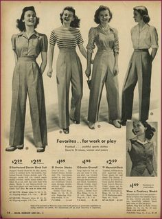 ladies trouser styles from Sears Vintage Catalog. Fashion/ Style ladies trouser styles from Sears Vintage Catalog. Vintage Outfits, 1940s Outfits, Mode Outfits, Vintage Dresses, Vintage Clothing, Vintage Wardrobe, Retro Outfits, Floral Dresses, 40s Mode