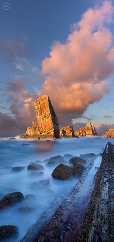 """Yannick Lefevre Sunset to Diagonal Rocks at Playa de Arnia, Liencres ( Cantabria ~ Spain ) © """"Copyright"""" Places Around The World, Oh The Places You'll Go, Places To Travel, Places To Visit, Around The Worlds, Wonderful Places, Beautiful Places, Magic Places, Portugal"""