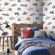 Arthouse Zoom Away Red/Blue Wallpaper - http://godecorating.co.uk/arthouse-zoom-away-redblue-wallpaper/