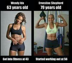 Wendy Ida and Ernestine Shepherd
