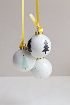 Christmas ball with pastel and gold dots by Asleepfromday on Etsy