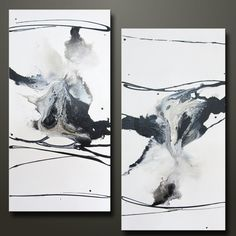 Perspective - Set of 2 -15 x 30 - Abstract Acrylic Paintings. $275.00, via Etsy.