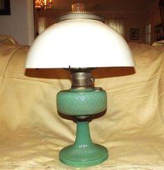 1930s Jadeite Aladdin Model B Oil Lamp w/ Glass Shade