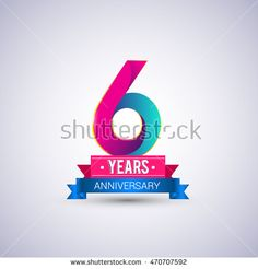 6 years anniversary logo, blue and red colored vector design