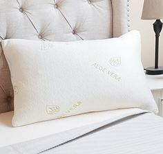 luxor linens amita therapeutic aloe vera infused memory foam pillow dust mite resistant 2 sizes