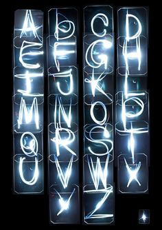 Light TypeNice experimental alphabet byAleksandr Prohorovin the UK.Nice that each of the letters are enclosed. Not your usual, writing with a torch:The idea of this piece is to capture full 26 character alphabet using sound and light through light sensors, some electronics and long exposure photography. Four light sensors were directed to the centre of the space between them in the X shape to ensure full area coverage. Small torch was used as the light source for sensors to respond to…