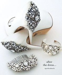 After the dress...wedding shoes & bridal accessories of course! Find your wedding day glam at Perfect Details. Designer bridal shoes, bridal jewelry & accessories. Always unique. Always glamorous. #BridalJewelry