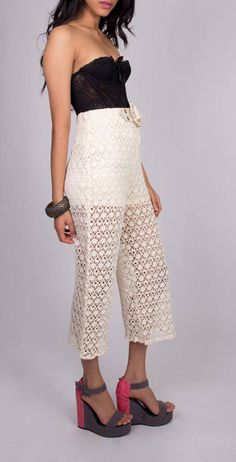 """I'm not usually a fan of high waisted pants even though I know they're """"in"""" but I kind of like this crochet pair sold on Etsy bylapetitemarmoset."""
