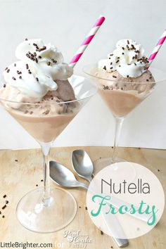 This Nutella Recipe looks amazing! Great summer activities for kids and adults to make Nutella Frosty's together. Yum!