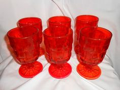 Viking Glass Basket Weave 6 Goblets Introduced 1974 Pattern Name Country Craft in persimmon? Kitchen Redo, Kitchen Ideas, Viking Glass, Kitchenware, Tableware, Country Crafts, Pattern Names, Glass Collection, Basket Weaving