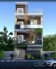 Modern Exterior House Designs, Narrow House Designs, Small Modern House Plans, Modern House Facades, House Outer Design, House Outside Design, House Front Design, Small House Design, 2bhk House Plan