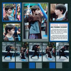 A page for Star Wars Jedi Training Academy? I love the border - it seems like an action sequence. Scrapbook Patterns, Scrapbook Templates, Scrapbooking Layouts, Disney Scrapbook Pages, Scrapbook Cards, Jedi Training Academy, Disneyland Trip, Star Wars Jedi, World Star