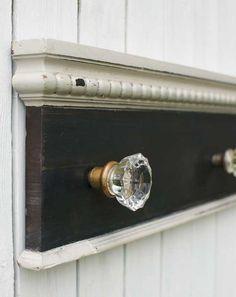 Antique Glass Door Knob Coat Rack on Reclaimed Wood-large. $95.00, via Etsy.