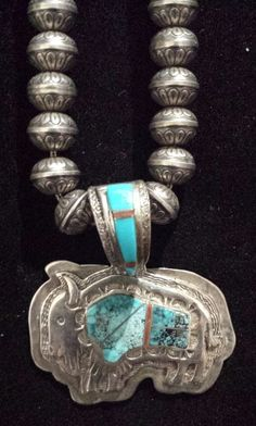 awesome Navajo Sterling Silver & Turquoise Buffalo Necklace with Sterling Silver Beads by post_link