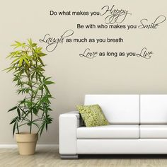 Laugh Smile Love Live Wall Art Sticker Quote Room Decal Mural Stencil Transfer Wall Stickers