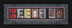 Keene, New Hampshire Framed Letter Art