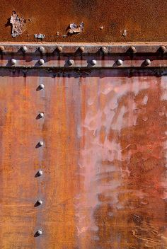 Re-pinned. Images by Janet Little Jeffers janetlittle.com  Proportion of straight lines and balanced placement of bolts to organic rusted texture. Colour proportion.