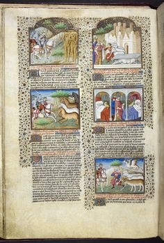 Miniatures of the following: first column: Alexander the Great encountering blemmyae; Alexander encountering horse-like creatures; second column: Alexander and the burial of Bucephalus; Alexander with ill people and caladrius birds; Alexander encountering a two-headed serpent, elephants, and other beasts, from Poems and Romances (the 'Talbot Shrewsbury book'), France (Rouen), c. 1445, Royal 15 E. vi, f. 21v
