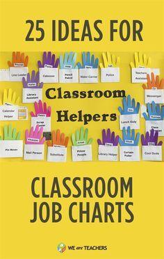 25 Ideas for Flexible, Fun Classroom Job Charts: So many cute ideas for teachers on this list!