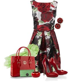 """""""Floral & Red"""" by yasminasdream ❤ liked on Polyvore"""