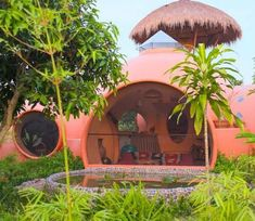 Charming dome house built in Thailand for only $ 8,000  #built #charming #house #thailand Charming House, Dome House, House Built, Building A House, Concrete, House Plans, Thailand, Planter Pots, Sweet Home