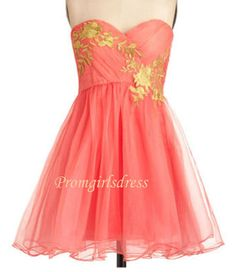 Light Red Homecoming Dress Short Strapless Light by Promgirlsdress, $109.00