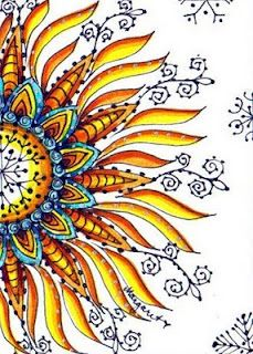 Water Blossoms: January 2010 -- want to use this lovely doodle to help me learn to use color well.