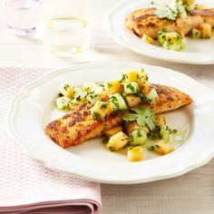 Ginger-Crusted Salmon with Melon Salsa #protein #fruits #myplate