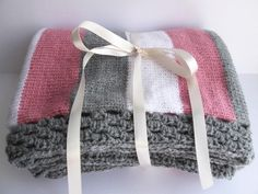 Hand knitted baby blanket - pink grey and white £20.00