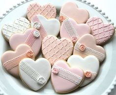 Lace heart cookies for a bridal shower by Miss Biscuit