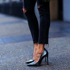 Erica Hoidawears sophisticated stilettos with frayed black...