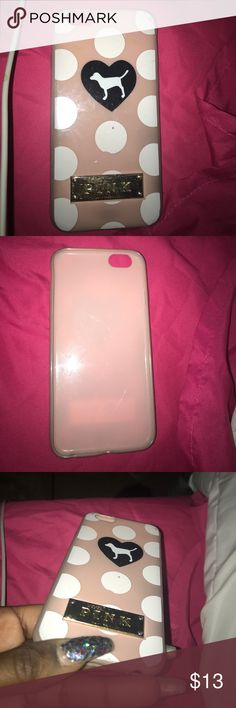 Pink iPhone 6 case In good condition, rubber material PINK Victoria's Secret Accessories Phone Cases