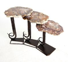 Accent Tables - Nesting Tables - Side Tables with Petrified Wood tops. Twig and vine #ironwork motif. #agate #petrifiedwood #marble #granite mickmael@michalandcompany.com 818-765-3755 x103