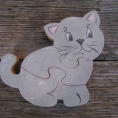 Puzzle animaux en bois : chaton gris en bois de aulne peint à la main