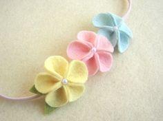 Emily - 3 color wool felt flower elastic headband - super cute for Easter