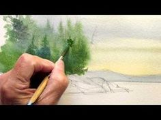 How to paint evergreens - YouTube