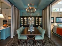Classy curtains as room dividers... can open or close/partially close.  I  House of Turquoise: HGTV Smart Home 2013