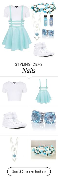 """Pretty in Blue"" by nancyricothemusiclover on Polyvore featuring Topshop, Converse, women's clothing, women's fashion, women, female, woman, misses and juniors"