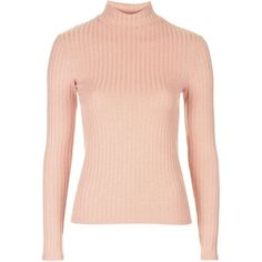 TopShop Ribbed Funnel Neck Top (36 AUD) ❤ liked on Polyvore featuring tops, sweaters, shirts, long sleeve shirts, coral reef, topshop sweaters, rib sweater, pink top, ribbed top and funnel neck top